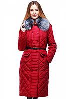 Стильное зимнее пальто Сесилия стеганное с мехом чернобурки