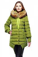 Оригинальная зимняя куртка в спортивном стиле воротник украшен мехом енота цвета в ассортименте