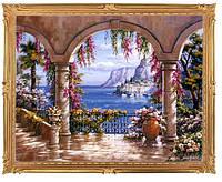 """Картина для рисования камнями Diamond painting Алмазная вышивка """"Дворик у моря"""""""