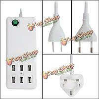 Универсальный мульти порт-6 портов USB-концентратор портативный рабочий стол стена быстрое зарядное устройство адаптер