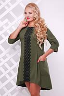 Женское трикотажное платье со шлейфом Милана с кружевом цвет оливковый до 56 размер