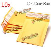 10шт 90 * 130мм 40мм + пузырь конверт желтого цвета крафт-бумаги мешок конверт почтовые