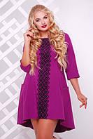 Женское трикотажное платье со шлейфом Милана с кружевом цвет сирень размер 50-56 / большие размеры