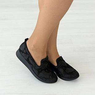 Замшевые слипоны 36. 40. черные туфли женские Woman's heel на низком ходу