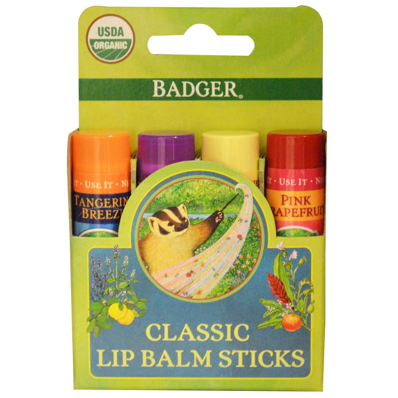Набор органических бальзамов для губ Badger Classic Lip Balm Sticks