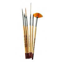 Набор кистей YRE для росписи ногтей  6 шт дерево
