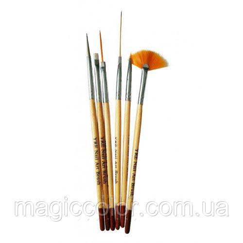 Набор кистей YRE для росписи ногтей  6 шт дерево - Чп Нимфа в Харькове