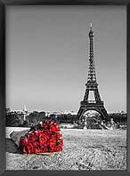 """Картина для рисования камнями Diamond painting Алмазная вышивка """"Париж и красные розы"""", фото 1"""