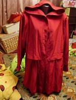 Плащ ветровка куртка женская капюшон красная малиновая 48 14 М, фото 1