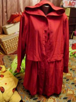 Плащ ветровка куртка женская капюшон красная малиновая 48 14 М