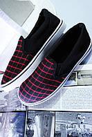 Мокасины мужские чёрно-красные