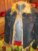 Пиджак куртка джинс мех коттон 44 S 10, фото 1