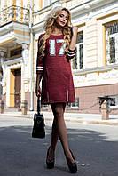 Женское  осенне-весеннее платье с рукавом три четверти красное