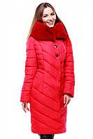 Яркая зимняя куртка утеплитель синтепух с меховым воротником