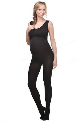Теплые колготы с хлопком для беременных 250 Den Мамин Дом черные, фото 2