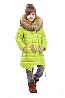 Очаровательная зимняя курточка Китти для девочек с меховым воротником в расцветках