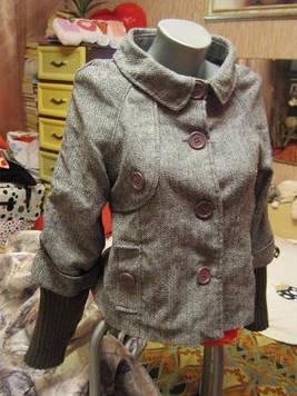 Пальто полу пальто женское демисезонное серое пиджак 44 10 S Куртка
