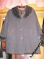 Пальто женское мех воротник серое 48 14 М хорошее качество, фото 1