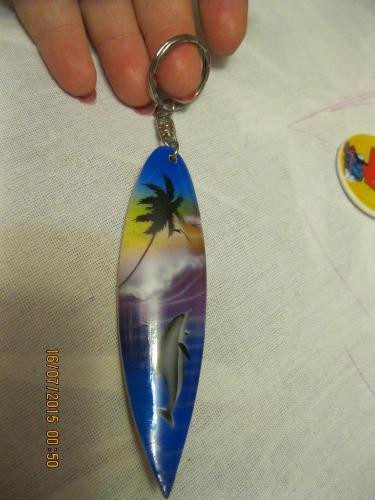 Брелок сувенир ручная работа из туниса скейт с дельфином деревянный пальма
