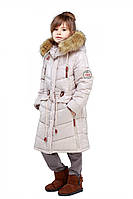 Качественная зимняя куртка для девочек утеплитель синтепух с меховым воротником