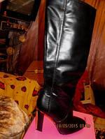 Сапоги женские демисезонные черные 39.5 р новые высокие каблук