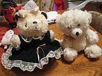 Мишка медведь миша белый в платье игрушка лот=2 шт