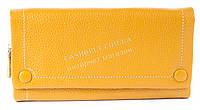 Удобный  кожаный женский кошелек с качественной мягкой кожи  art. 3208A  желто горчичного цвета