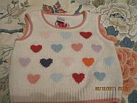 Жилет кофточка детский NEXT сердечки 6-12мес  белая хорошее состояние