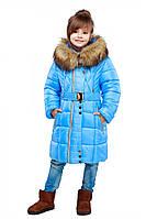 Модная зимняя курточка для девочек Мирабель с меховым воротником
