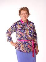 Блуза шелковая стойка со складами, огурцы на синем
