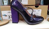 Туфли женская фиолетовые лаковые каблук- замша 38р