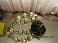 Красивенный новый браслет жемчуг цветок под золото