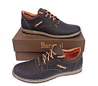 Кожаные мужские спортивные туфли Barzoni 15 коричневые