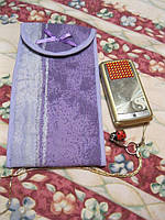 Пенал футляр косметичка кошелек чехол на липучке сиреневый цвет хлопок можно под очки, фото 1
