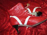 Ботильоны ботинки женские натуральная  кожа сапоги красные