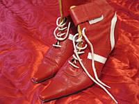 Ботильоны ботинки женские натуральная  кожа сапоги красные ИТАЛИЯ, фото 1