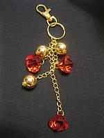 Брелок на сумку красно-золотой украшение подвеска