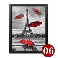 """Картина для рисования камнями Diamond painting Алмазная вышивка """"Париж и зонтики"""", фото 1"""