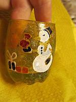 Подсвечник роспись новый год хэндмэйд елка снеговик стакан новый год