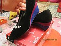 Туфли женские 36р замша черные с цветной платформой удобная модель