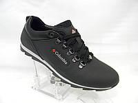 Мужские кожаные кроссовки Columbia model К1-Н чёрные р.40-45 натуральная кожа осень-весна