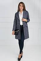 Модное осенне пальто-кардиган застежка на три пуговицы в синем цвете