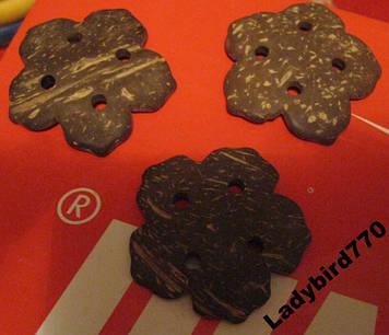 Пуговица цветок деревянные набор =3ш пуговицы красивые украшения как дерево