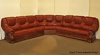 """Кожаный угловой диван """"Гризли"""" Курьер натуральная кожа, 340 см-340 см"""