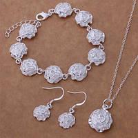 Ювелирный комплект Белый цветок 3 в 1 серебро