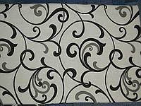 Ткань Бязь Gold черный вензель на белом