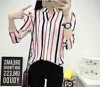 Блузка рубашка женская белая в вертикальную полоску