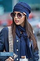 Женская теплая синяя шапка