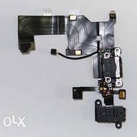 Шлейф для iPhone 5, с разъёмом зарядки, коннектором наушников и микрофоном, черный