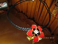 Колье ожерелье цветок красный подвеска шнурок бусы